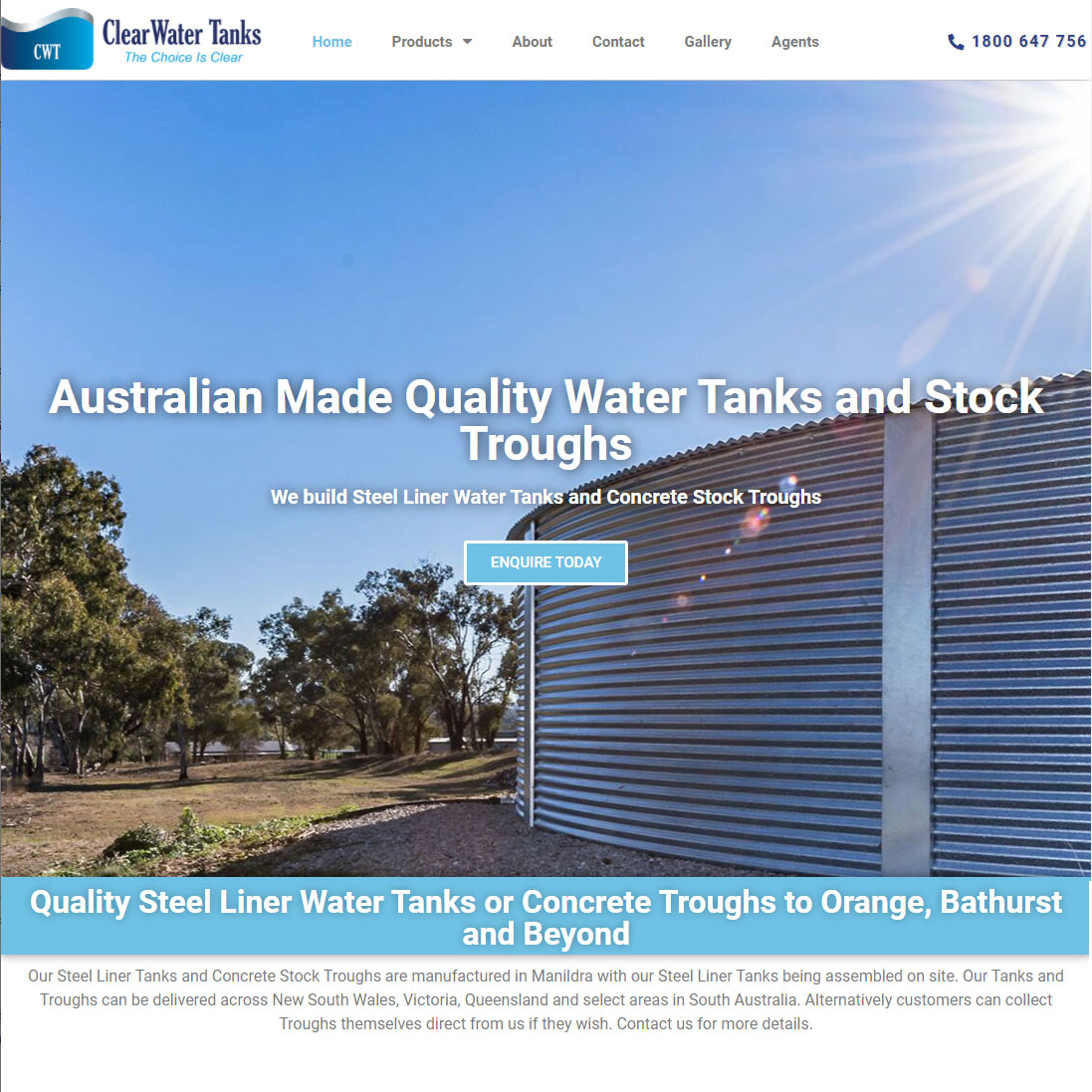 Clear-water-tanks-ecommerce-designed-website-orange